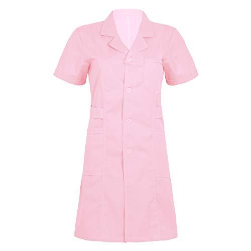 YOOJIA Damen Laborkittel Arztkittel Kurzarm Medizin Labormantel mit Knöpfe Arzt Uniform Arztmantel Berufsbekleidung Rosa XXL - Wissenschaftler-kittel