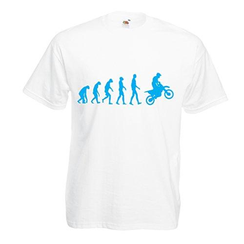 lepni.me Maglietta da Uomo Evoluzione Motocross, Moto Sporca, Maglia da Moto, Abbigliamento da Corsa, Moto da Fuoristrada (XXXX-Large Bianco Blu)