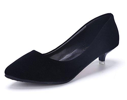 Minetom Femme Printemps Confortable Kitten Talons Chaussures Shoes Pointed Toe Décontractée Suède Chaussures
