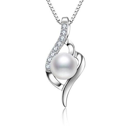 J.Vénus Damen Schmuck, Perle Halskette Silber mit Anhänger 925 Sterling Silber Zirkonia Perle 45cm / Kette, Schmuck mit Etui (ewige Liebe - weiß)