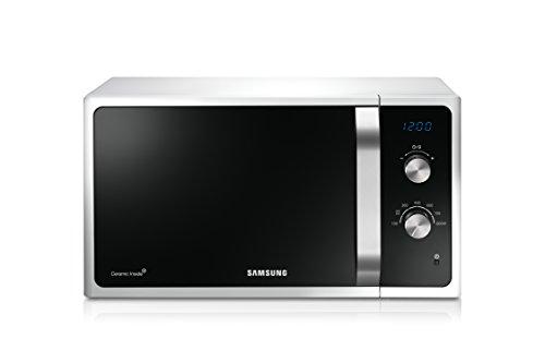 Samsung MS23F301EAW/EG Mikrowelle / 800 W / 23 L Garraum / Weiß / Auftauprogramm / Triple Distribution System / Keramik-Emaille-Innenraum (Kleine Mikrowelle Drehteller)