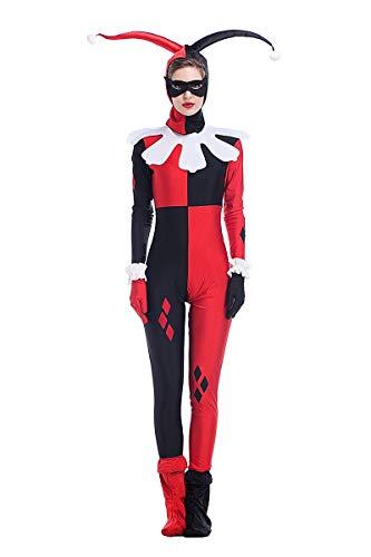 FHSIANN Evil Clown Funny Kostüm Catsuit Frauen Wicked Cosplay Overall Horror Sinister Jester BOdysuit Kleidung Für Damen - Wicked Clown Kostüm
