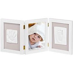 Cadre photo bébé NIMAXI avec empreinte en plâtre, dimension 39x18cm, couleur blanc, cadre photo kit empreinte main et pied