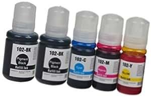 5 Cartouches d'encre compatibles pour EPSON EcoTank ET-2700 ET-2750 ET-3700 ET-3750 ET-4750 | 102 C13T03R140 127ml C13T03R240 C13T03R340 C13T03R440 70ml