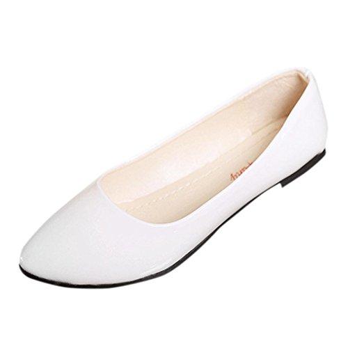 FEITONG Damen Ballerinas | Bequeme Slip-Ons | Spitze Flache Schuhe | Candy Farbe Schuhe Freizeit Flache Schuhe (CN:36, Weiß) (Schuh Candy Schuhe)