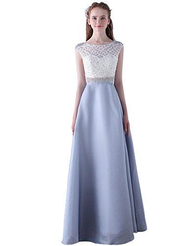 Beauty-Emily una línea Maxi Perla Tul O-Cuello Cuentas de Diamantes de imitación Ver a través de los Vestidos de graduación de Dama de Honor Gris, tamaño EU46