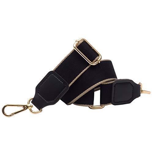 BENAVA Taschengurt Schultergurt für Taschen Schwarz Grau Gold Verstellbar Breit Baumwolle