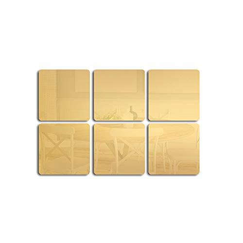 6 Unidades de Adhesivos de Pared para Azulejos de Espejo, DIY Cuadrados, Adhesivos de Pared para Home...