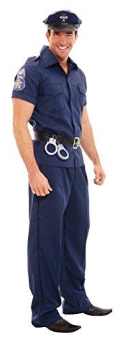 Karneval-Klamotten Polizei Kostüm Herren Polizist Cop Uniform Polizistenkostüm blau Komplettkostüm Herrenkostüm Fasching Größe ()