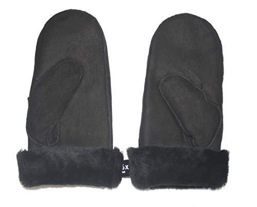 Lammfell Handschuhe Fäustlinge aus Australischen Premium Lammfell SCHWARZ mit schwarzen Lammfell, Damen Größenbeschreibung siehe Produktbeschreibung (L, Schwarz)