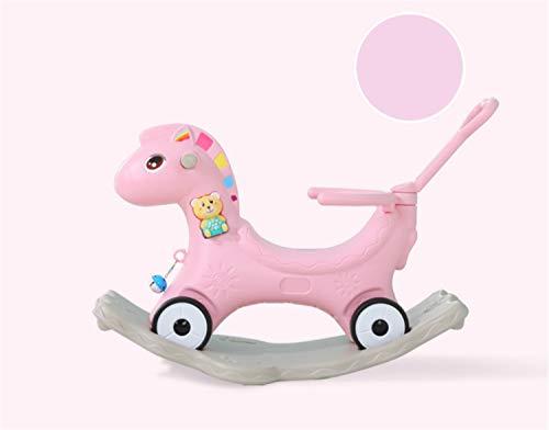 BIANJESUS Baby Schaukelpferd Kunststoff Spielzeug Kind Junge Mädchen Schaukelstuhl Kleinkind Kind Spielzeug Rad verschleißfeste Riemenscheibe Bis 1 Jahr Musik Pink -