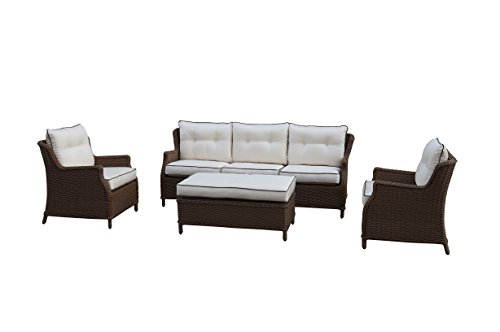 Polyrattan Gartenmöbel Lounge Set Sitzgruppe mit 2-Sitzer-Sofa oder 3-Sitzer-Sofa, Farbe in helles beige oder braun, aus Aluminium, fertig montiert (3-Sitzer-Sofa, braun/weiss)