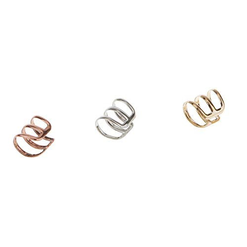 Stulpen-band (NiceButy 3Pcs Edelstahl Ohrclips Non Piercing Ohrring-Band-Ohr-Stulpen Knorpel-Ohr-Clips Set für Männer Frauen - Gold, Silber, Kupfer kreativen Design)