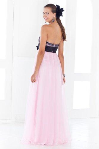 Lemandy Robe de soirée mousseline bicolore Rose