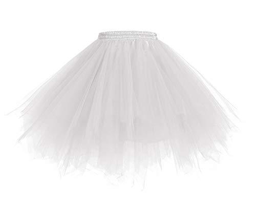 HomRain 1950 Petticoat Tutu Unterrock Underskirt für Rockabilly Kleid White M