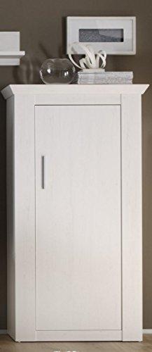 Weiße Konsole Schrank (Beauty.Scouts Kommode 'Sorrent' - Kommode, Konsole, Vitrine, Schrank, Stauraumelement, modern, Aufbewahrung, Wohnzimmer, Esszimmer, Flur, Diele, B/H/T: 80 x 145 x 35 cm, in Pinie weiß Nachbildung)