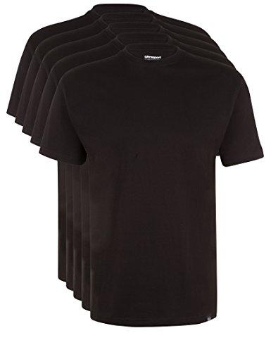 Ultrasport Herren Sport Freizeit T-Shirt mit Rundhalsausschnitt 5er Set, Schwarz, S