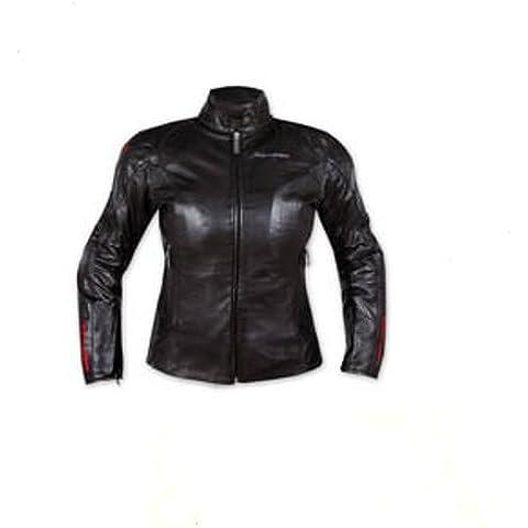 Mujer Piel Moto Jacket Señora protectores CE extraíbles térmica moda Negro S