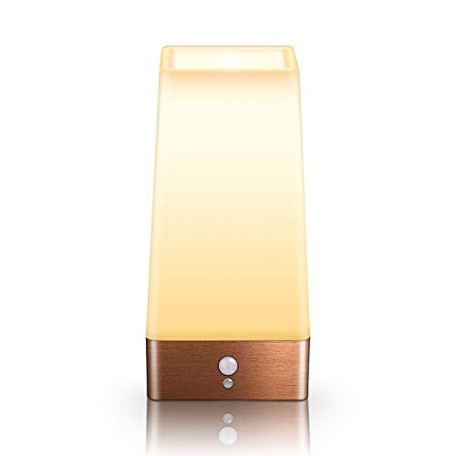 Aappy Bewegungsmelder Nachtlicht, batteriebetriebene Lampe, tragbare drahtlose LED-Tisch-Bett-Schreibtisch Leuchten für Schlafzimmer, Flur, Bad, Küche, Wohnzimmer (Quadratisches Kupfer)