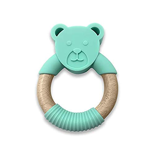 Woodbeat Baby Bear Ring Design Exercise Grip Teething Toy, Silicone-Wood and BPA-Free Teether, The Perfect Baby and Toddler Teething Relief (Green) -