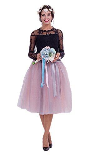 (URVIP Damen's Rock Knielang Petticoat Unterrock Tutu Tüll 7 Schichten Elegant Sommer Elastic Bund in Mehreren Farben Grau und Rosa One Size)