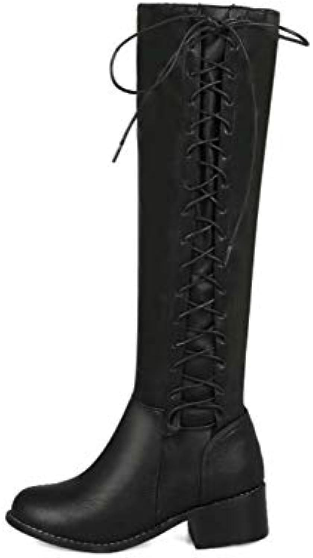 HYLFF Femmes Bottes Hautes, Dames Martin Bottes Bottes Bottes Plat épais avec Talons HeelSide Cravate Lacet-up Bottes de Moto... 097ac9
