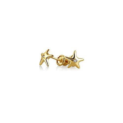 Minimalistische Akzent Nautische Seestern Ohrstecker Für Damen Für Jugendlich Zirkonia Echten 14K Gelb Gold Screwback - Screwback Für Diamant-ohrringe