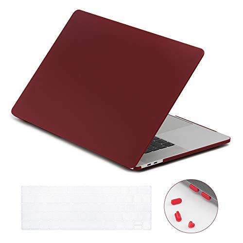 Lention Hard Case mit Tastatur Cover und Port Stecker für MacBook Pro (15Zoll, 20162017)-Modell A1707, mit Touch Bar und Thunderbolt 3Anschlüsse, Matt Finish Fall mit Gummifüßen Rot Weinrot -