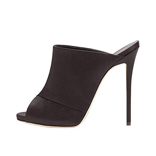 High Heel Satin Stiletto Peep Toe Sandalen,MWOOOK-620 Damen Hochzeit Abendschuhe Brautschuhe Sandalen,Black,39 -