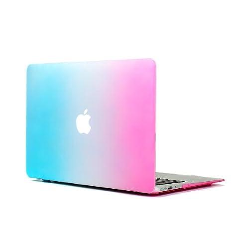 MacBook Air 11 Hülle , Aomo MacBook Air 11 Zoll Tasche Schutzhülle Hülle Case Regenbogen Shell für Macbook Air 11.6 Modell: A1370/A1465 (Wasserblau & Rosa)