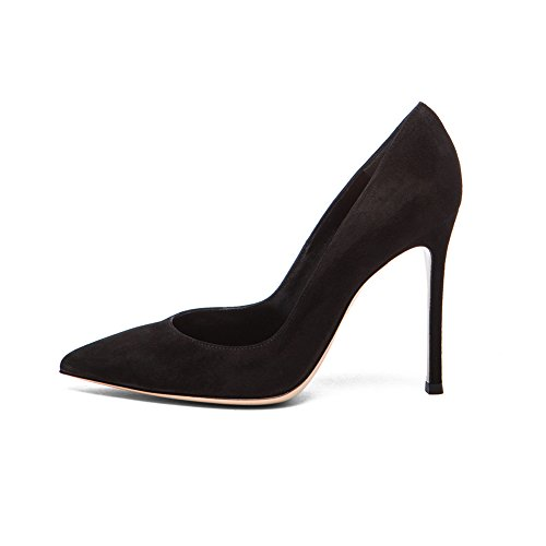 EDEFS Femmes Artisan Fashion Escarpins Unis Classiques Lady Travail Bureau Pointus Des Couleurs Chaussures à talon haut de 100mm Noir-S