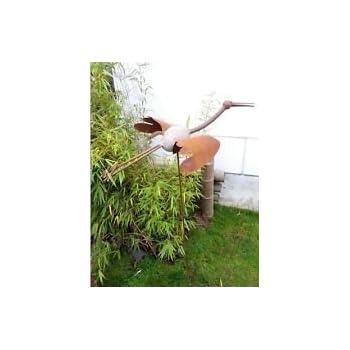 Zen man gartenstecker beetstecker kranich aus eisen und for Gartendeko aus stein und metall