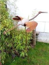 Zen Man Gartenstecker Beetstecker Kranich aus Eisen und Stein Vogel Metall Gartendeko 120 * 75 * 45cm