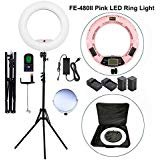 "Yidoblo 96W 18"" LED Ring Light Kit FE-480II Pink Video Studio Portrait Selfie Makeup YouTube Lighting Bicolor with Remote, Phone/Camera Holder, Mirror, Light Stand, Two Batteries&Chargers, Carry Bag"