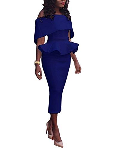 Boutiquefeel Damen Schräge Schulter Fold-over Schulter Peplum Bodycon Kleid Blau M