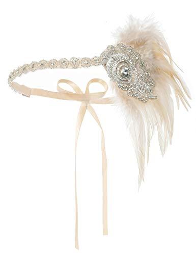 Zivyes Great Gatsby Kopfbedeckung im Stil der 20er-Jahre, mit Straußenfedern, Kostüm-Zubehör - - (Downton Abbey Kostüm Frauen)