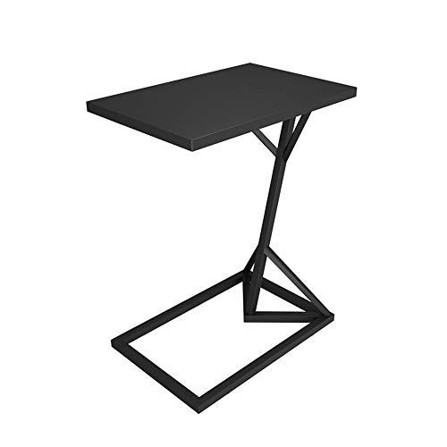 Klapptisch YANFEI, Metall Kleiner Beistelltisch Wohnzimmer Sofa Beistelltisch Typ C Kleiner Couchtisch, Schwarz, Gold, Weiß (45 * 30 * 58 cm) (Farbe : SCHWARZ) -