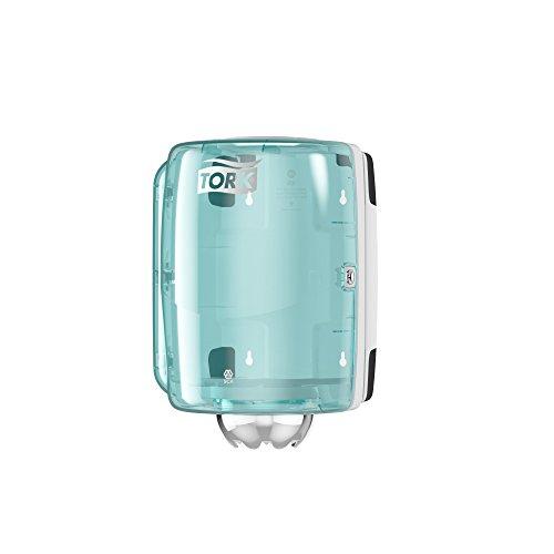 Tork 659000 Dispensador de alimentación central Performance/Soporte de papel mecha compatible con el sistema M2 / Blanco y Turquesa