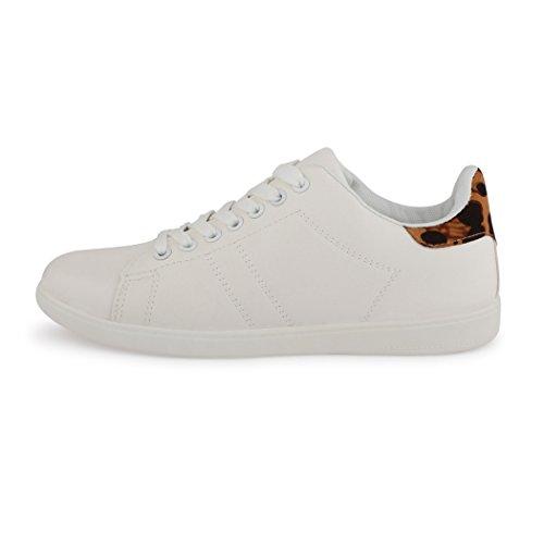 best-boots - Pantofole Donna Bianco (Weiß / Leo)