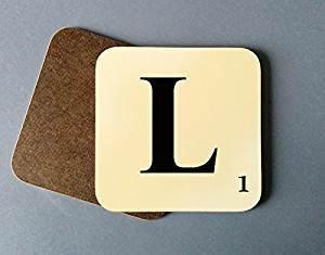 l Buchstaben | bedruckt Untersetzer |, Letter 'L' (L Monogramm)