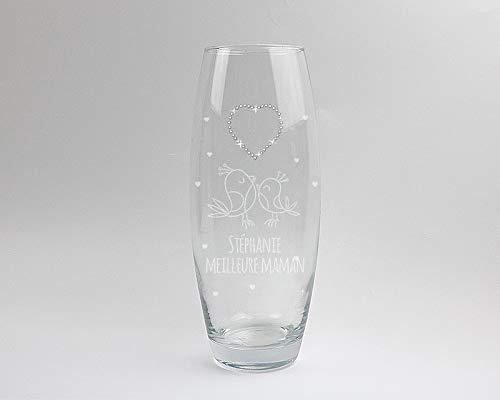 CADEAUX.COM Vase Ovale gravé Coeur Cristaux Swarovski -...