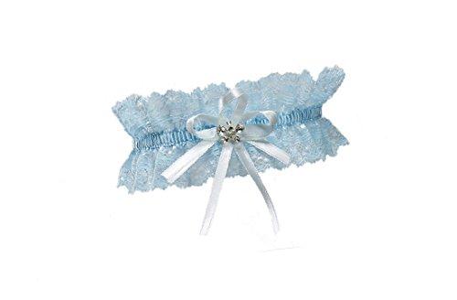 BrautChic Hochzeitsstrumpfband funkelnde Kristalle in Schmetterlingsform Elfenbein, EXTRA WEIT(XL/XXL)-Einheitsgröße,Blau