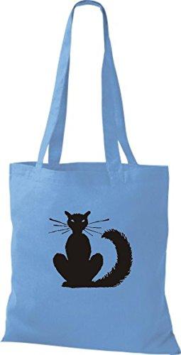 blue Stoffbeutel Katze Cat Motive Züchter surf Tiere diverse ShirtInStyle Lustige Katze Farbe Rasse 7gRpww1q