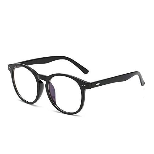 Computer Brille Anti Blue Light Blocking Filter Gaming Brillen Frauen Runde Leopard Klar Brillengestell (Frame Color : C1 Bright Black)