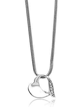 Miore Damen-Kette 925 Sterling Silber Schlangenkette mit Herz-Anhnger Zirkonia 45 cm