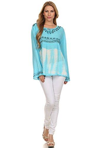 Sakkas carla tie dye bestickte Tunika oder Bluse für Damen Türkis