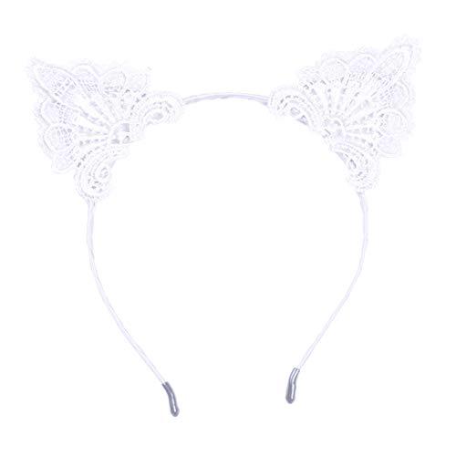 Doitsa 1 Stück Haarband Stirnband Katze Ohren Stirnband Reizvolle Spitzen Haarreife Trend Damen Haarreif Kopfband Kostüm Accessories für Frauen Weiß