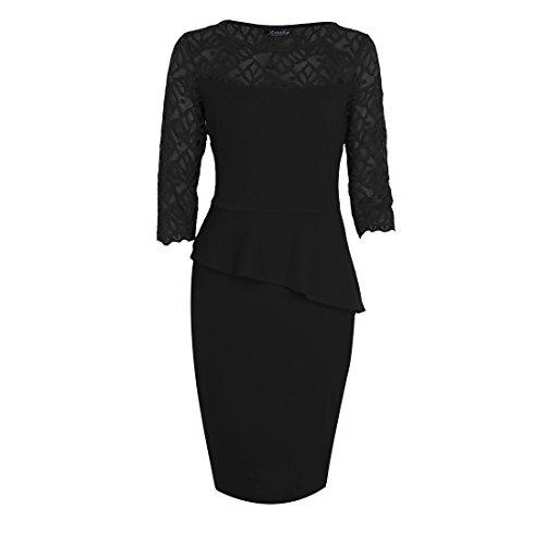 Bafei - Robe - Peplum - Manches 3/4 - Femme Noir