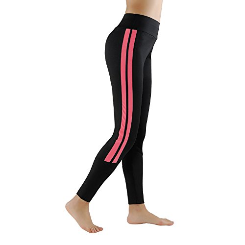 GoVIA Legging pour femme Pantalon de course à pied Pantalon de sport respirant Pantalon de Yoga Fitness Taille haute Long Rayures 4138 Rose