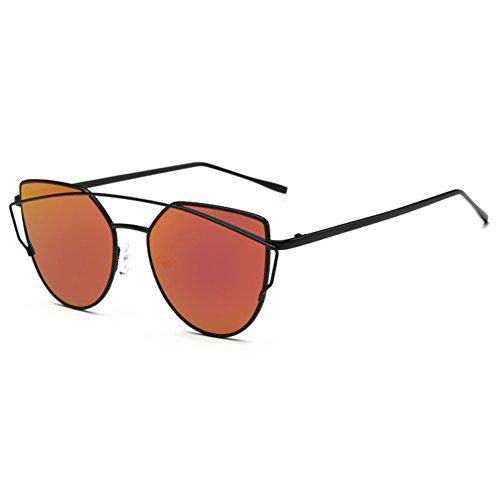 Botetrade New Cat Eye Flieger Sonnenbrille Damen Vintage Mode Metallrahmen Spiegel Glaser Einzigartige Wohnung Damen Sonnenbrille UV400 (Eye Vintage Cat Brille Rot)